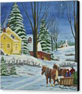 Christmas Eve In The Country Canvas Print