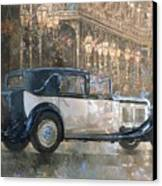 Christmas Lights And 8 Litre Bentley Canvas Print by Peter Miller