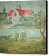 Church Across River Canvas Print