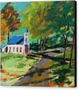 Church On The Bend Landscape Canvas Print by John Williams