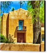 Church With Blue Door Canvas Print by Jeff Kolker
