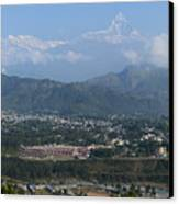 City And Annapurna  View  Canvas Print by Atul Daimari