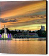 City Park Fountain At Sunset Canvas Print by Stephen  Johnson