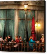 City - Vegas - Paris - The Outdoor Cafe  Canvas Print by Mike Savad