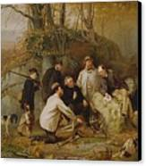 Claiming The Shot - After The Hunt In The Adirondacks Canvas Print by John George Brown