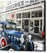 Classic Chevrolet Automobile Parked Outside The Store Canvas Print