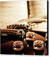 Classic Guitar Still Life With Notes Canvas Print