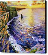 Cliffs Of Moher At Sunset Canvas Print by Conor McGuire