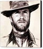 Clint Eastwood Portrait Canvas Print by Wu Wei