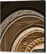 Close-up View Of Moorish Arches In The Alhambra Palace In Granad Canvas Print by David Smith