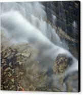 Closeup Maple Leaf And Decew Falls, St Canvas Print by Darwin Wiggett