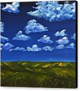 Clouds And Grass Field Canvas Print