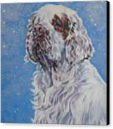 Clumber Spaniel In Snow Canvas Print by Lee Ann Shepard