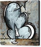 Coastal Art Contemporary Sailboat Painting Whimsical Design Silver Sea II By Madart Canvas Print by Megan Duncanson