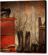 Cobbler - The Shoe Shiner 1900  Canvas Print by Mike Savad