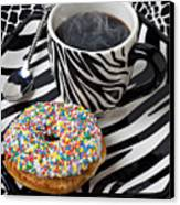 Coffee And Donut On Striped Plate Canvas Print