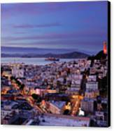 Coit Tower And North Beach At Dusk Canvas Print by Photo by Brandon Doran
