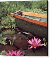 Colombian Boat And Flowers Canvas Print