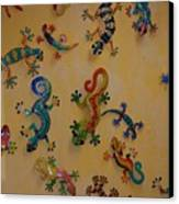 Color Lizards On The Wall Canvas Print