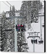 Colorado Chair Lift During Winter Canvas Print by Brendan Reals