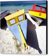 Colorful Boats On  Eagle Beach  Aruba Canvas Print by George Oze