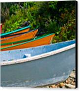 Colorful Fishing Boats On A Rocky Shore  Grand Manan Canvas Print