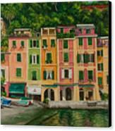 Colorful Portofino Canvas Print by Charlotte Blanchard