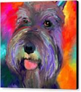 Colorful Schnauzer Dog Portrait Print Canvas Print by Svetlana Novikova