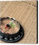 Compass On Stockmarket Cotation In Newspaper Canvas Print by Sami Sarkis