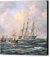 Convoy Of East Indiamen Amid Fishing Boats Canvas Print by Richard Willis