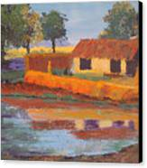 Cottage By The Pond Canvas Print