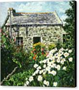 Cottage Of Stone Canvas Print by David Lloyd Glover