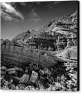 Cottonwood Creek Strange Rocks 3 Bw Canvas Print by Roger Snyder