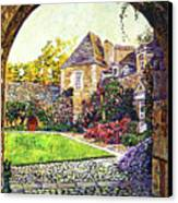Courtyard Impressions Provence Canvas Print by David Lloyd Glover