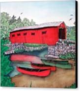 Covered Bridge And Canoes Canvas Print