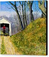 Covered Bridge And Cowboy Canvas Print