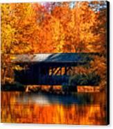 Covered Bridge Canvas Print by Joann Vitali