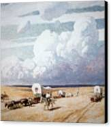 Covered Wagons Heading West Canvas Print