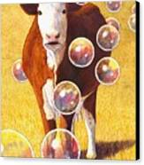 Cow Bubbles Canvas Print