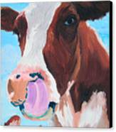 Cow Picking His Nose Canvas Print by Michael Lee