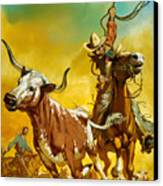 Cowboy Lassoing Cattle  Canvas Print by Angus McBride