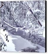 Cranberry River Winter Heavy Snow Canvas Print
