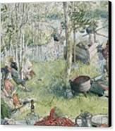 Crayfishing Canvas Print by Carl Larsson