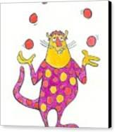 Creature Juggling Polka Dots Canvas Print