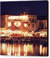 Crete. Rethymnon Harbor At Night Canvas Print