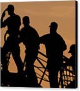 Crewmen Salute The American Flag Canvas Print by Stocktrek Images