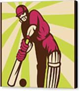 Cricket Sports Batsman Batting Retro Canvas Print