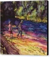Crossing The Stream Canvas Print by Carolyn Doe