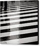 Crosswalk In Rain Canvas Print by photo by Jason Weddington
