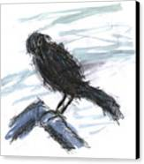 Crow In The Wind Canvas Print